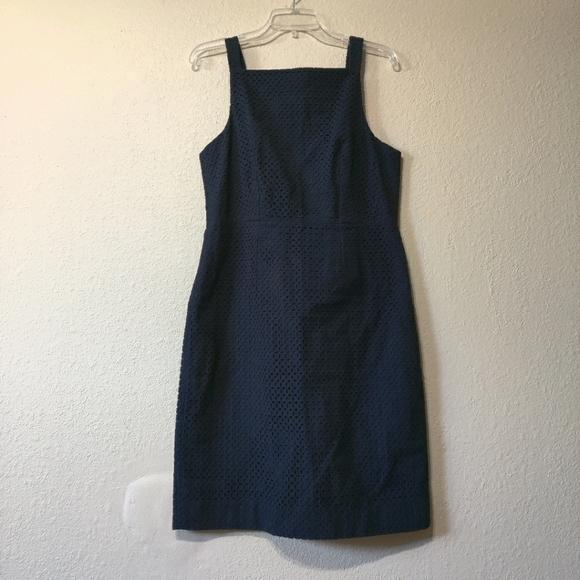 J. Crew Black Label Blue Sleeveless Shift Dress